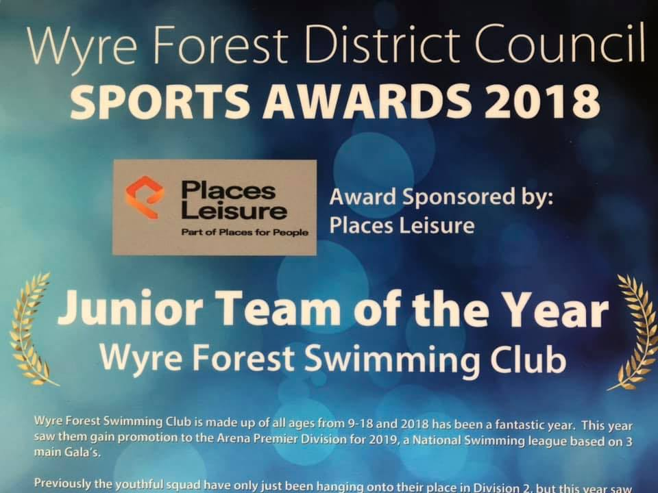 Wyre Forest Swimming Club Win Junior Team of the Year