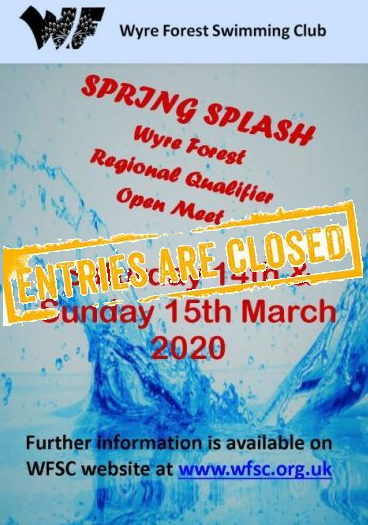 WFSC SPRING SPLASH REGIONAL QUALIFIER OPEN MEET – 14th & 15th MARCH 2020 – ENTRIES CLOSED